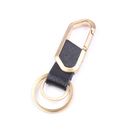 Custom Leatherette Brass Metal Key Chain w/ 2 Rings, Hot Stamping or Embossing