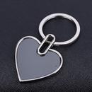 Blank Heart Shaped Keychain in Polished Chrome Finish, 1.75