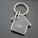 Custom House Shaped Keychain in Polished Chrome Finish, 2.75