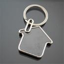 Blank House Shaped Keychain in Polished Chrome Finish, 2.75