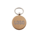 Custom Round Beech Wood Key Fob w/ Ring, 1-1/2