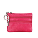 Blank Mini Zipper Coin Change Purse w/ Key Ring, Genuine Leather, 4-1/3