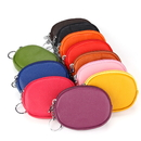 Blank Oval Coin Purse Zipper Pouch with Keychain, 4-3/4
