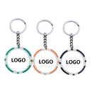 Custom Double Colors Casino Poker Chip Keychain, Screen Printed, 1.6