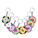 Custom Three Colors Poker Chip Keychain, Decal Imprint, 1.6