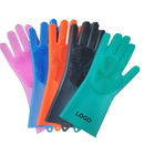 Custom Reusable Silicone Scrubber Cleaning Gloves, for Household, Dish Washing, Pet Care, 14