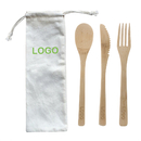 Custom Ecofriendly Reusable Bamboo Utensil Set, Bamboo Fork Knife and Spoon with Pouch, 7.9