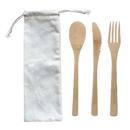 Blank Eco Friendly Reusable Bamboo Utensils Cutlery W/ Pouch