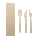 Blank Disposable Bamboo Utensils Set W/ Kraft Paper Bag