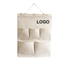 Custom Hanging Wall Organizer over the Door Storage Bag with 5 Pockets, Natural, 13-7/9