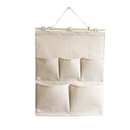 Blank Hanging Wall Organizer over the Door Storage Bag with 5 Pockets, Natural, 13-7/9