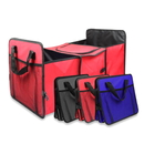 Blank Foldable 3 Compartments Car Grocery Storage Container Trunk Organizer with Mesh Side Pockets
