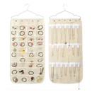Aspire Double-sided Jewelry Organizer Hanging Bag 40 Pockets 20 HOOK&LOOP Dual Sided Holder Closet Accessory Earrings Necklace Bracelet Storage Bag with Hanger