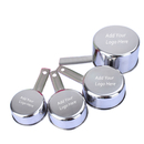 Custom Stainless Steel Measuring Cups Set- 4Pcs (60ML/80ML/125ML/250ML), Dishwasher Safe