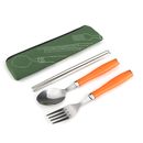 Blank Spoon Chopsticks Fork Set with Plastic Handle, 8 1/2