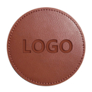 Customized Round Leather Coasters, 3-7/8