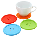 Silicone Coaster Colorful Buttons, Drinking Cup Mat, Non-Spills Drink Placemat