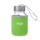 Custom Glass Water Bottle with Protective Bag, 5 oz , Silkscreen