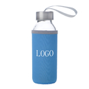 Custom Glass Water Bottle with Protective Bag, 10 oz , Silkscreen, Long Leadtime