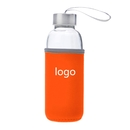 Custom Glass Water Bottle with Protective Bag, 14 oz , Silkscreen, Long Leadtime
