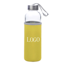 Custom Glass Water Bottle with Protective Bag, 17 oz , Silkscreen, Long Leadtime