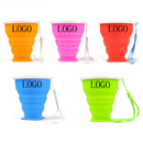 Custom 8oz Silicone Collapsible Travel Cup w/ Lid & Strap, 3.15
