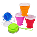 Blank 8oz Silicone Collapsible Travel Cup w/ Lid & Strap, 3.15