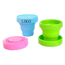 Custom 5.8oz Collapsible Folding Silicone Travel Camping Cup, 3.15