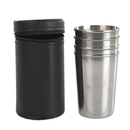 Blank 4-Piece Stainless Steel Shot Glass Set for Camping/Hiking/Outdoors - 5 oz, Long Leadtime