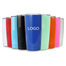 Custom 20 Oz. Stainless Steel Tumbler w/ Resistant Lid, Double Walled Insulated Travel Mug, Silk-printing or Laser Engrave