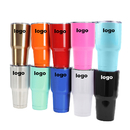 Custom 30 Oz. Stainless Steel Tumbler w/ Resistant Lid, Double Walled Insulated Travel Mug, Silk-printing or Laser Engrave