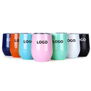 Custom 12 Oz Stainless Steel Wine Glass Tumbler, Egg Shape Vacuum Travel Mug, Silk-printing or Laser Engrave, 4-1/2