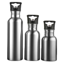 Blank Premium Single Walled Stainless Steel Sports Water Bottle with Straw Lid