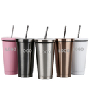 Custom 17 oz. Double Wall Stainless Steel Tumbler with Metal Straw, Silk-printing or Laser Engrave, 7.3