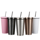Blank 500ml 17oz. Double Walled Stainless Steel Tumbler with Lid and Straw, 7.3