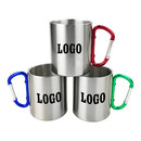 Custom 6.8 oz. 10 oz. Carabiner Handle Stainless Steel Mugs, Silk-printing or Laser Engraved