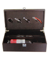 Custom Double Wine Bottle Case with 4 Pieces Wine Accessories, Wooden Case