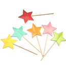Colorful Stars Cupcake & Cake Topper Picks, Cocktail Picks, Party Decoration, 12Pcs/Pack