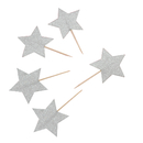 Silver Gold Stars Cupcake Topper Toothpicks, Cocktail Picks, Party Supplies, 20PCS/Pack