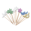 Colorful Stars And Moon Cupcake Topper Toothpicks, Cocktail Picks, Party Supplies, 18PCS/Pack