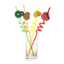 Fruit Pattern Plastic Drinking Straws, 10-3/5