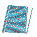 Santa Claus Paper Drinking Straws, Christmas Party Supplies, 25Pcs/Pack