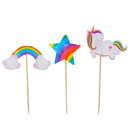 Colorful Star Rainbow Unicorn Cupcake Topper Toothpicks, Cocktail Picks, Party Supplies, 24Pcs/Pack