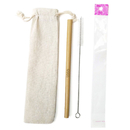 Custom Reusable Bamboo Drinking Straw Cleaning Brush W/ Cotton Pouch or OPP Bag, Laser Engraved