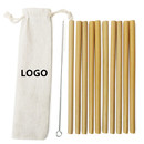 Custom Set of 10 Bamboo Drinking Straws with Stainless Steel Cleaning Brush and Storage Pouch, 7.9