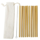 Blank Set of 10 Reusable Bamboo Drinking Straws with Cleaning Brush and Pouch