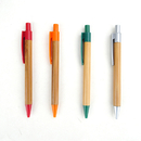 Blank Recycled Bamboo Ballpoint Pen with Plastic Grip - Long Leadtime