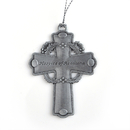 Stock Cast Pewter Cross with Holy Leaves Ornaments, 1-7/8