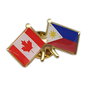 Stock Canada & Philippines Friendship Flag Lapel Pins, 1.25