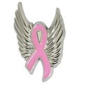 Breast Cancer Ribbon Pin with Wing, One Size